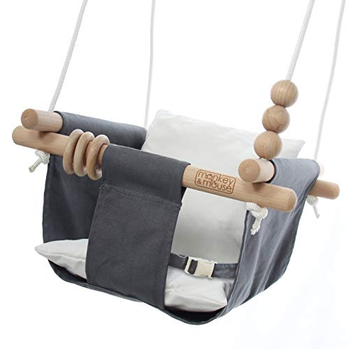 Monkey & Mouse Secure Canvas and Wooden Hanging Swing Seat Chair Product Image